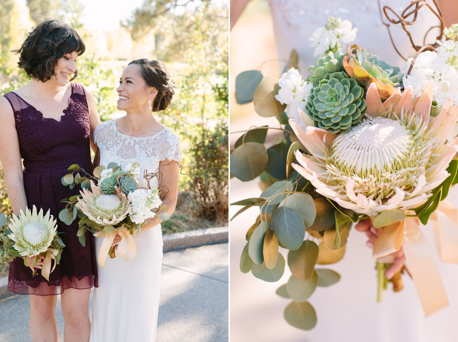 Protea wedding flowers with seeded eucalyptus and succulents