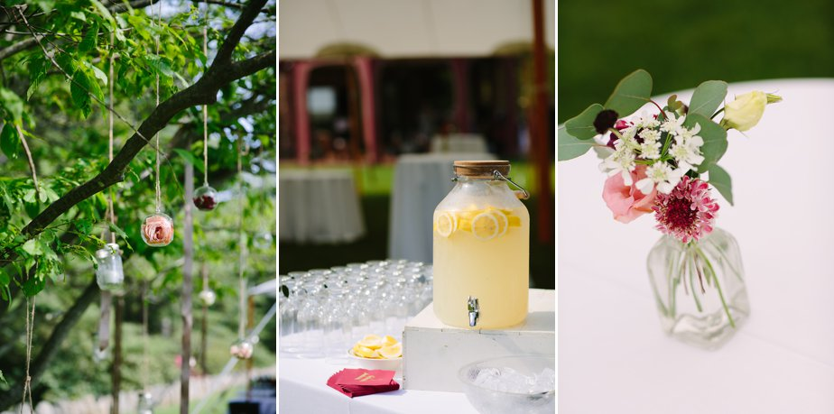 lemonade and flowers at moraine farm wedding