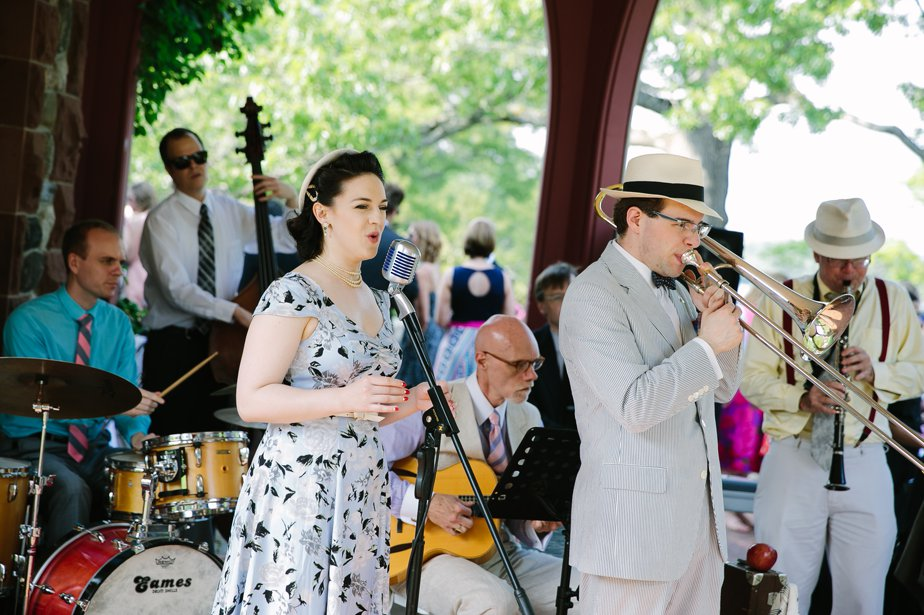 vintage 50's swing band for garden wedding at moraine farm