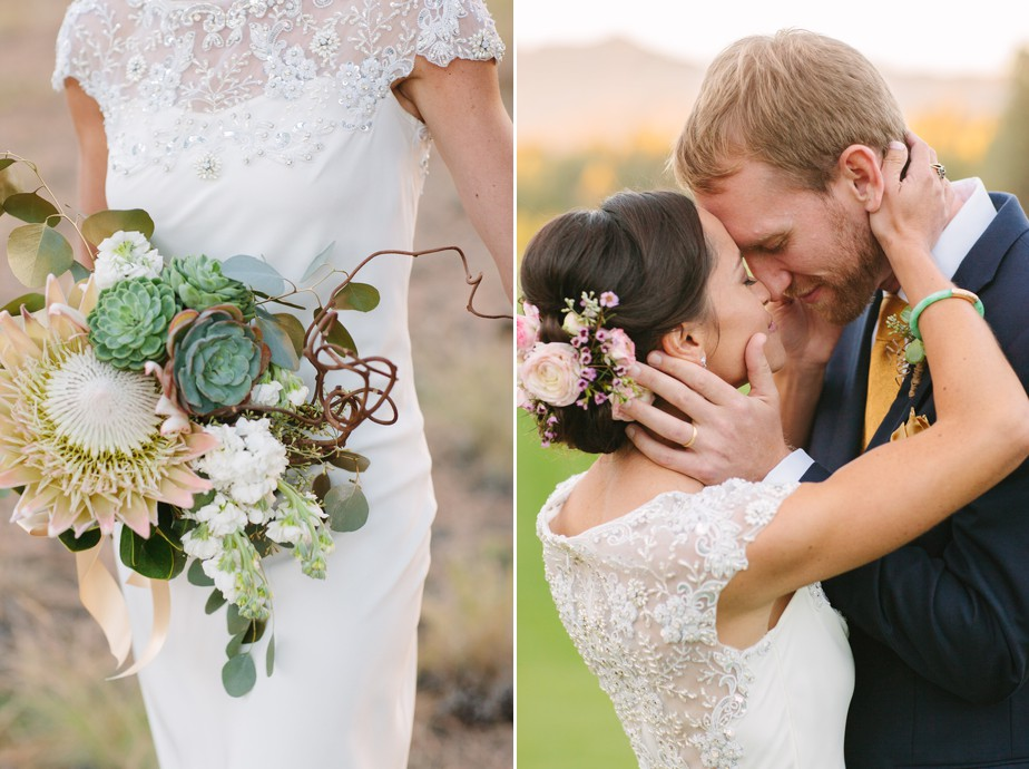 protea bouquet with BHLDN wedding dress at Pine Canyon wedding in Arizona for destination wedding