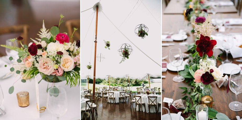 hanging flowers in tent at moraine farm wedding