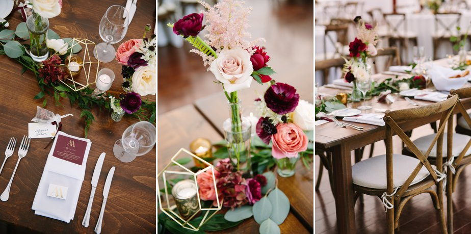 red and pink toned with gold geometric designs moraine farm wedding