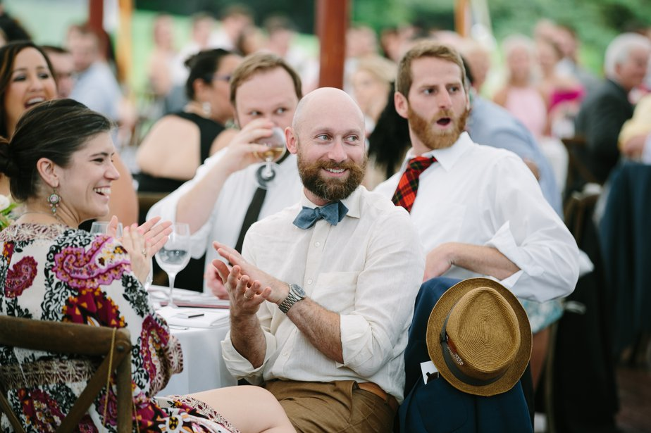 guests react at moraine farm wedding