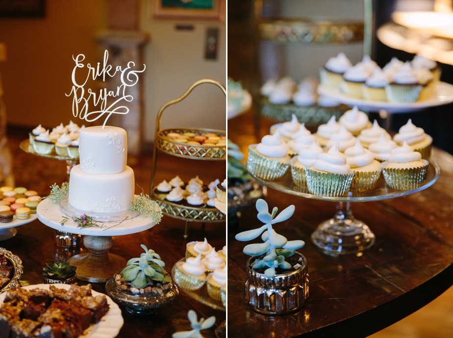 succulents and cupcakes with wedding cake