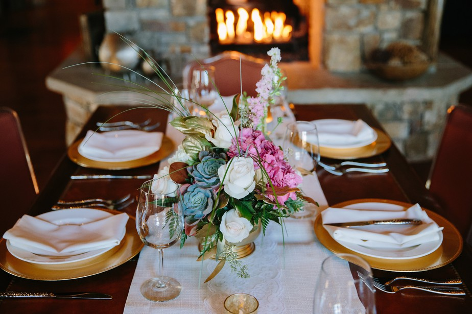 ranch wedding reception with gold details at pine canyon