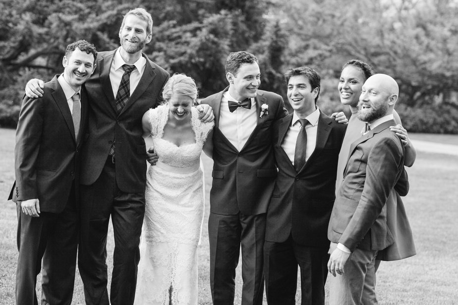 group of doctor guests at moraine farm wedding
