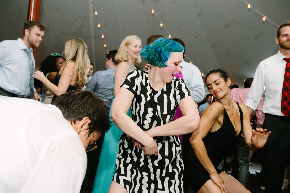blue hair dancing tented reception at The Estate at Moraine Farm in Beverly MA