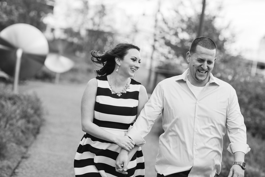 black and white striped dress north point park engagment shoot