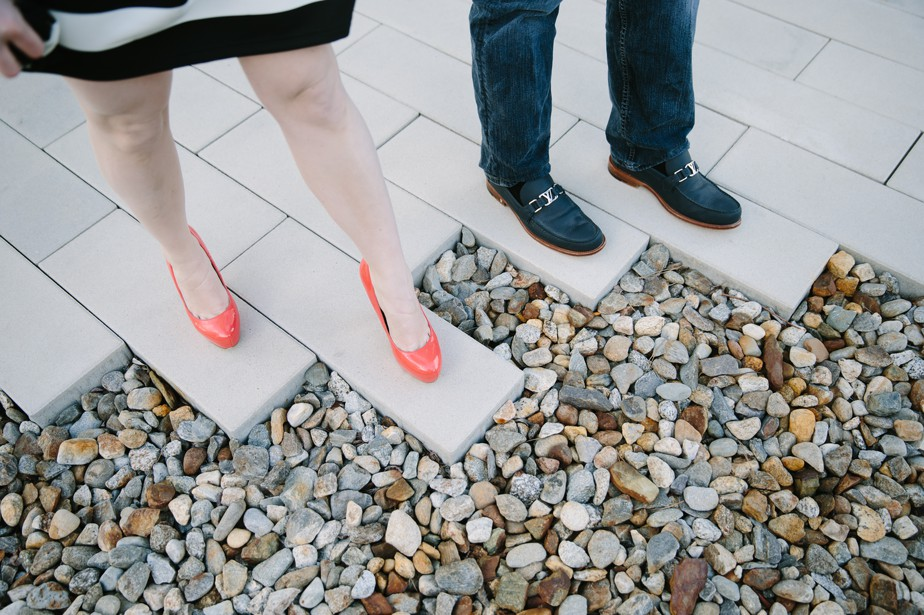 fun orange shoes and north point park engagment shoot