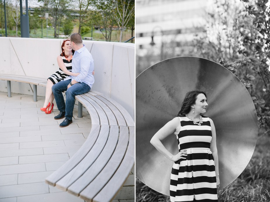 striped dress for north point park engagment shoot