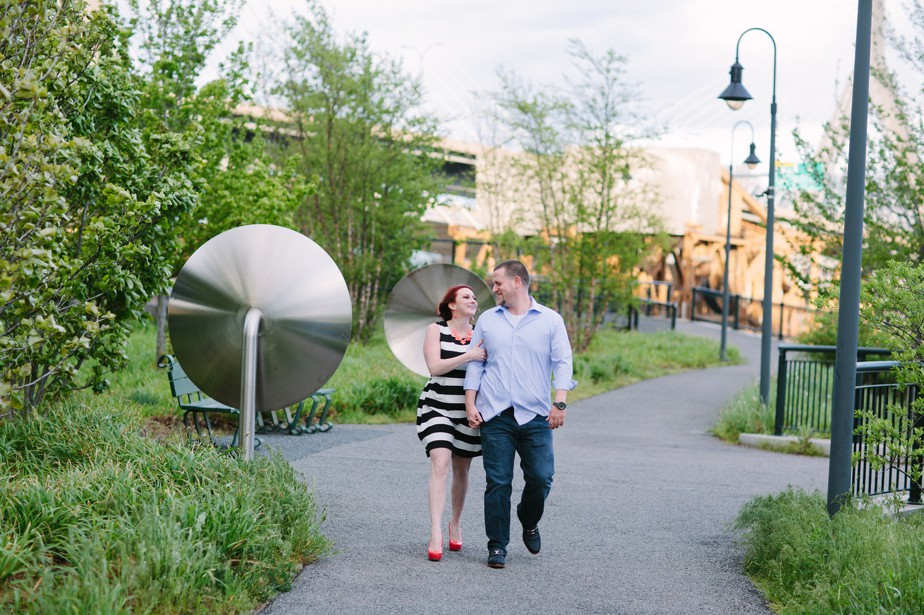 spring time engagement shoot with a striped dress at north point park engagment shoot