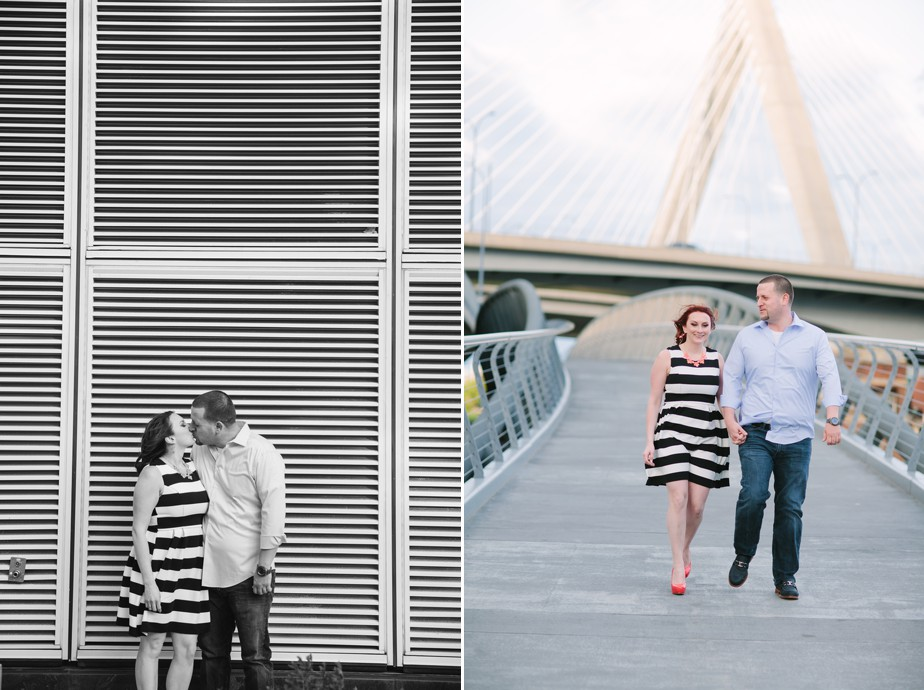 zakim bridge in boston background for north point park engagment shoot
