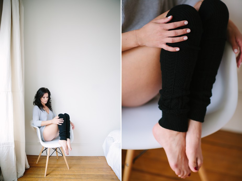 tasteful creative boudoir photography in boston sweaters and leg warmers