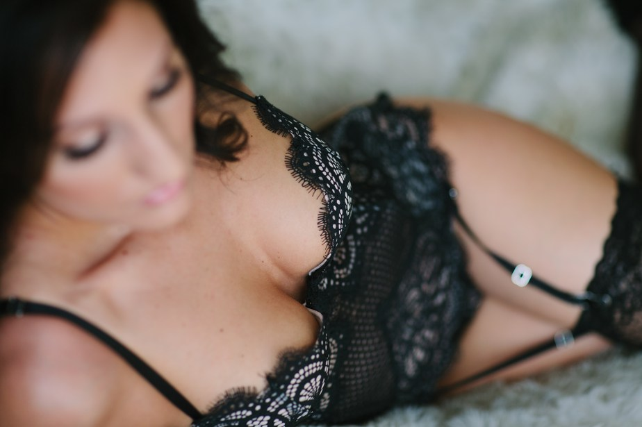 boudoir detail of black lace lingerie in boston