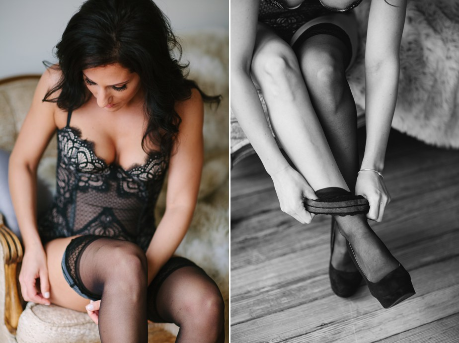 thigh highs and black lace for waltham boudoir session