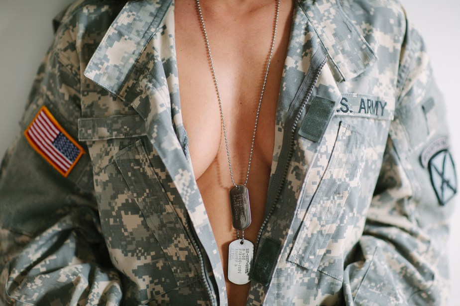 dog tags and army jacket boudoir session in boston and waltham, MA
