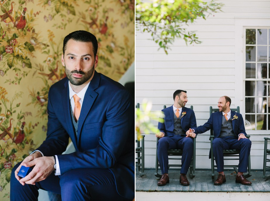 two handsome grooms at dorset inn wedding