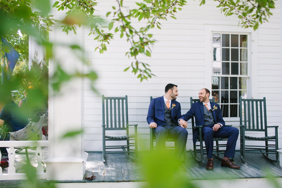 porch portraits for gay wedding at dorset inn wedding