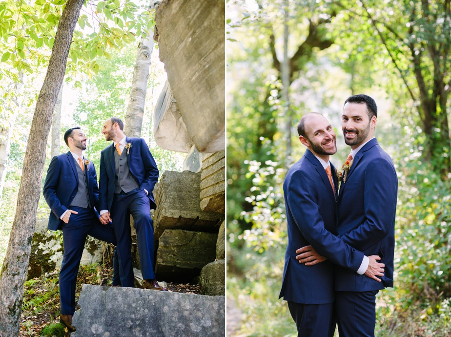 two grooms at hildene wedding in vermont