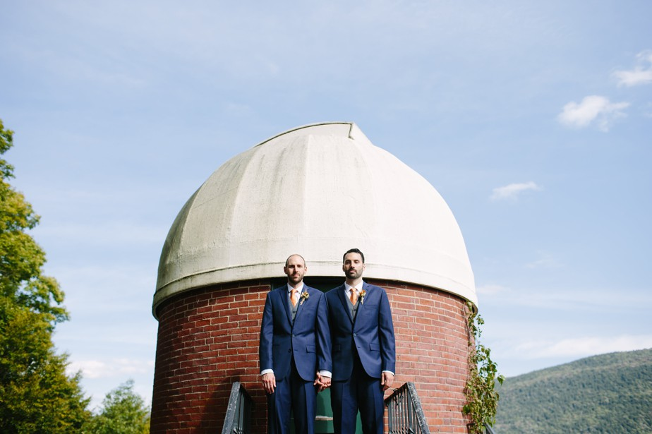 two grooms at the observatory at hildene in vermont