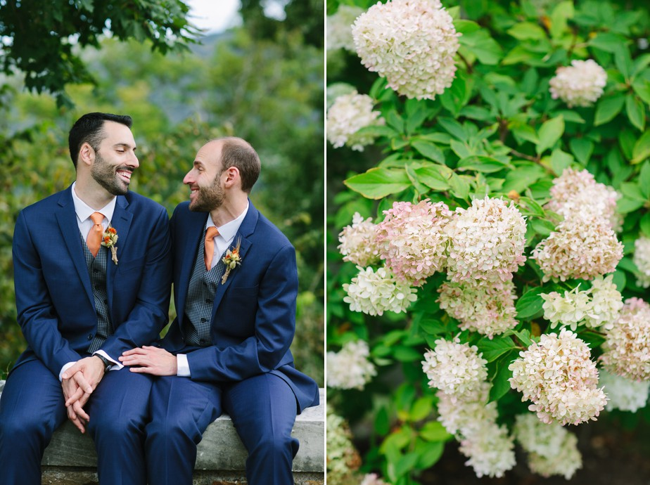 two grooms at hildene for a vermont wedding