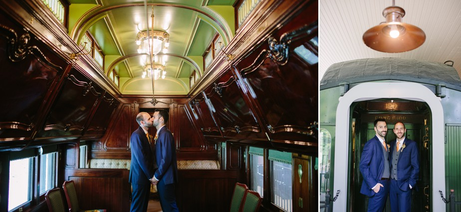 grooms kiss on a train at hildene wedding in vermont