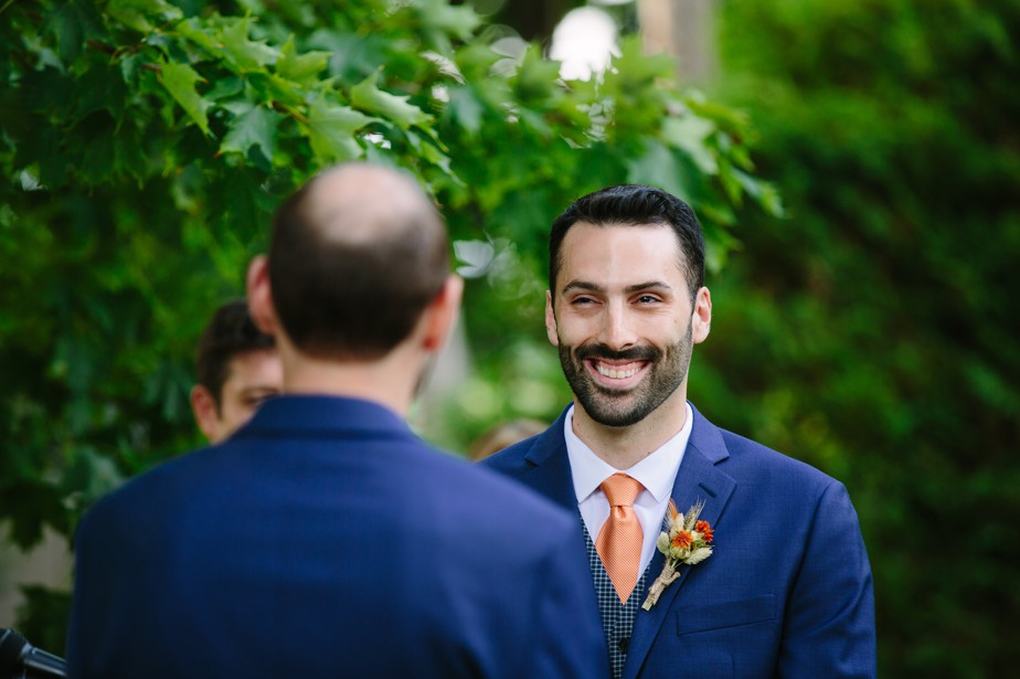 smiling during the ceremony at dorset inn wedding