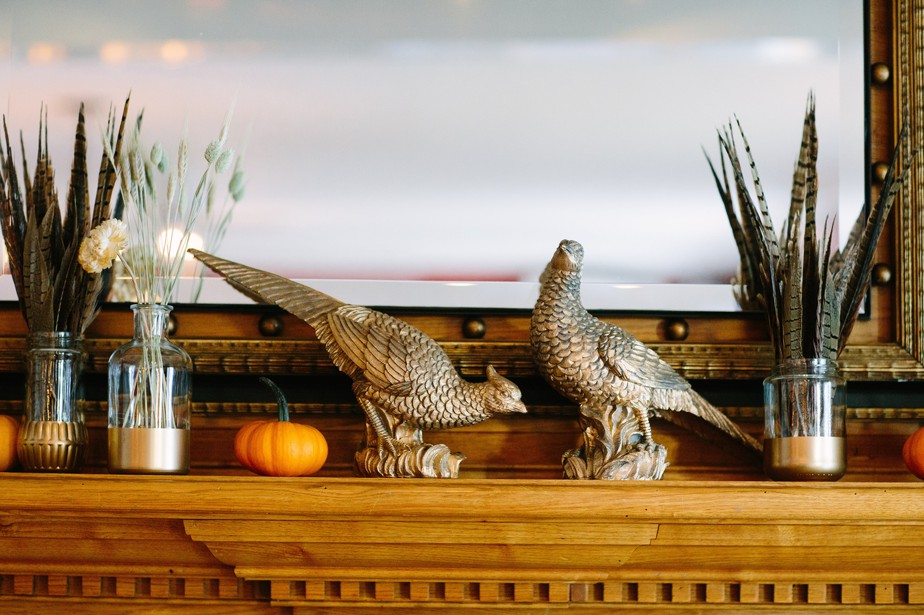 pheasant themed wedding decor at dorset inn wedding in vermont