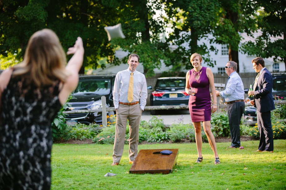 lawn games at cocktail hour at dorset inn wedding in vermont