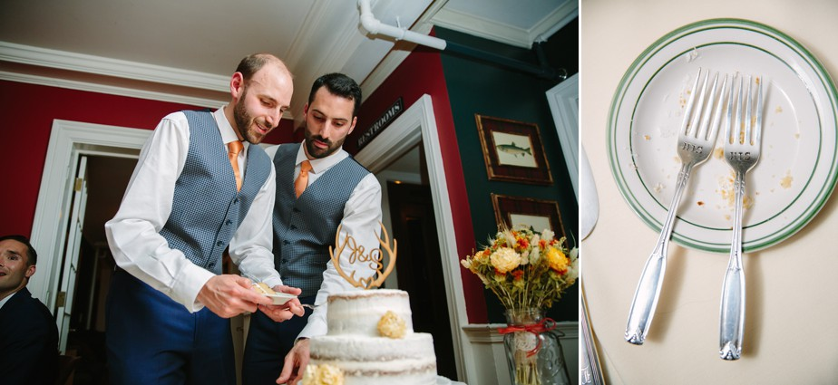 grooms cut the cake at dorset in wedding