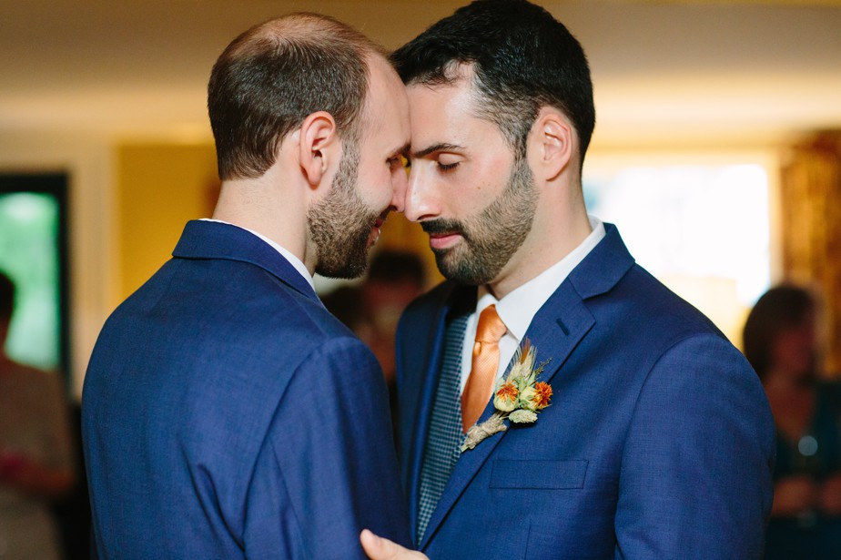 two grooms at gay wedding share a first dance in dorset vermont