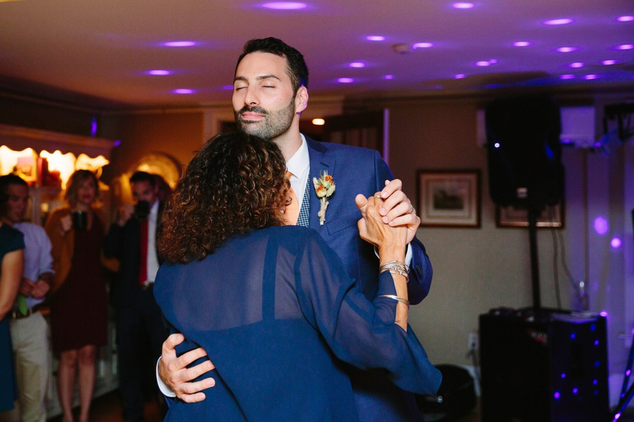 mother and son dance at gay wedding at dorset inn vermont