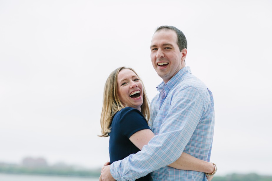 happy and natural engagement photos in south boston