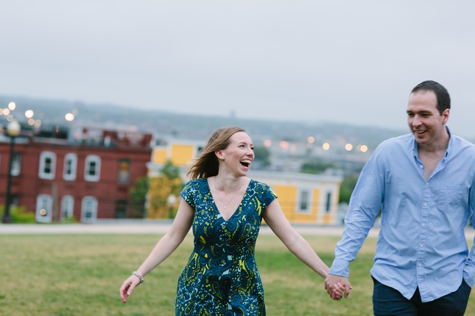 engagement photos on a hill in south boston