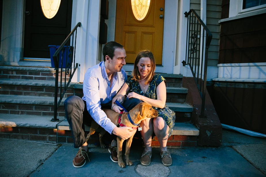 puppy in engagment shoot in south boston