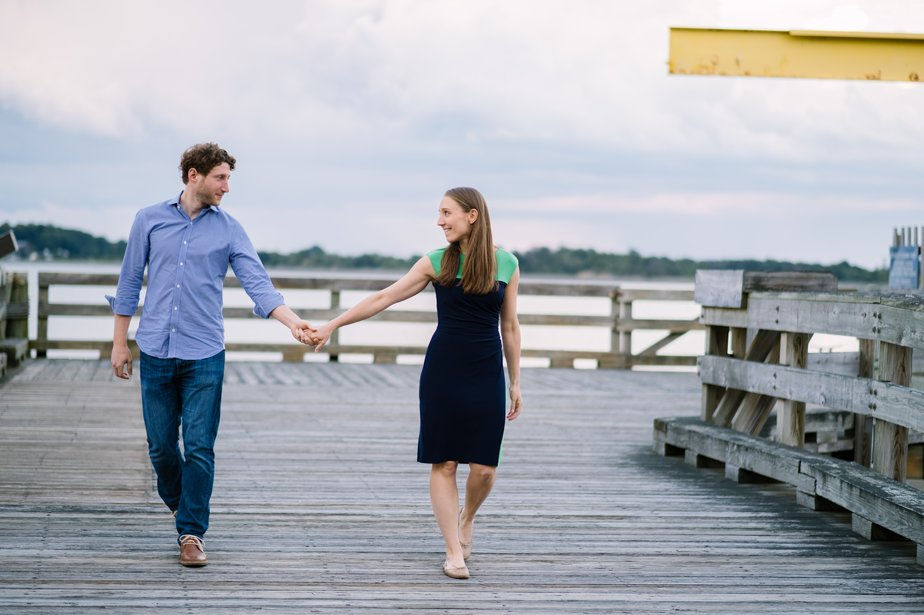 sunset engagement shoot on the water in south boston dorchester
