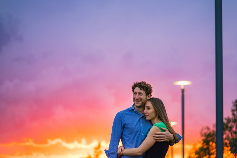 incredible boston sunset for JFK Library wedding shoot