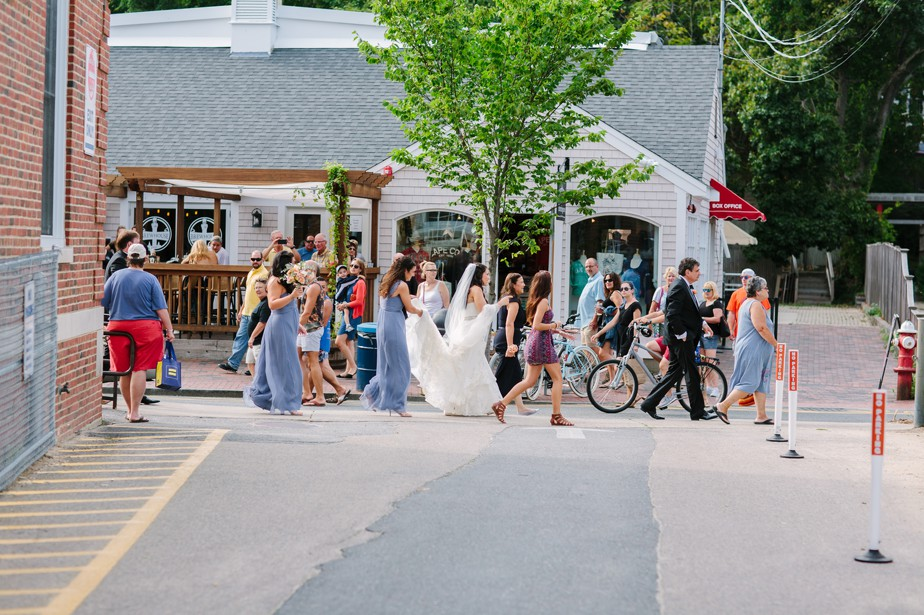 walking to the canteen pilgrim monument wedding provincetown Ptown