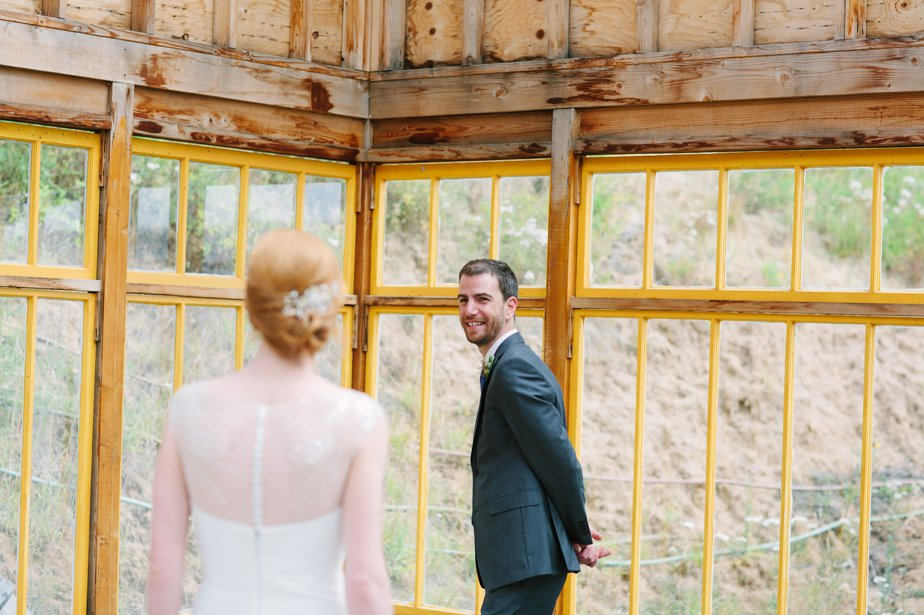 groom sees bride at first look at mt hood organic farm