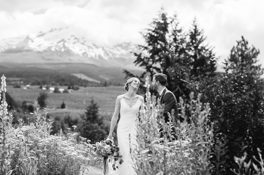 bride laughs outside at mt hood organic farm