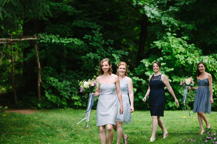 different shades of blue bridesmaid dresses at mt hood organic farm