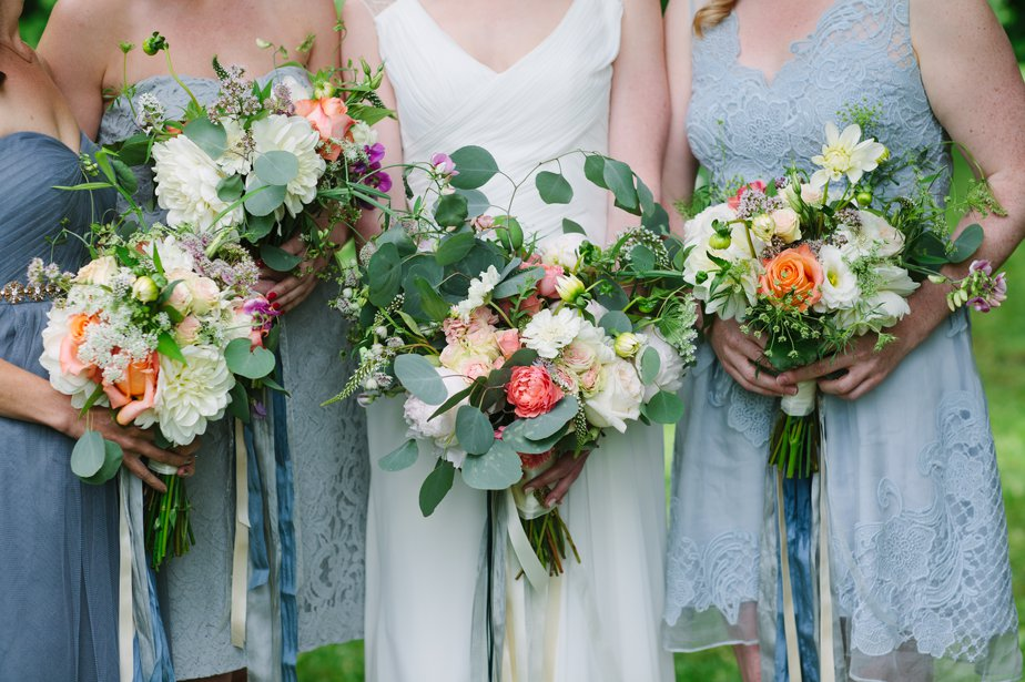organic bouquet for garden wedding with blue and coral