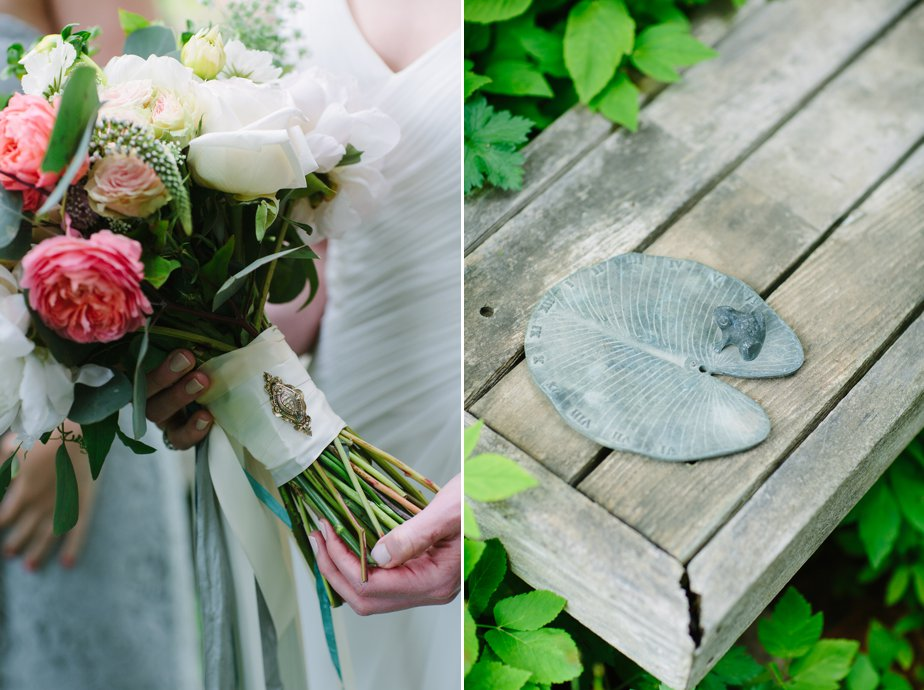 grandmothers pin on bouquet at garden wedding