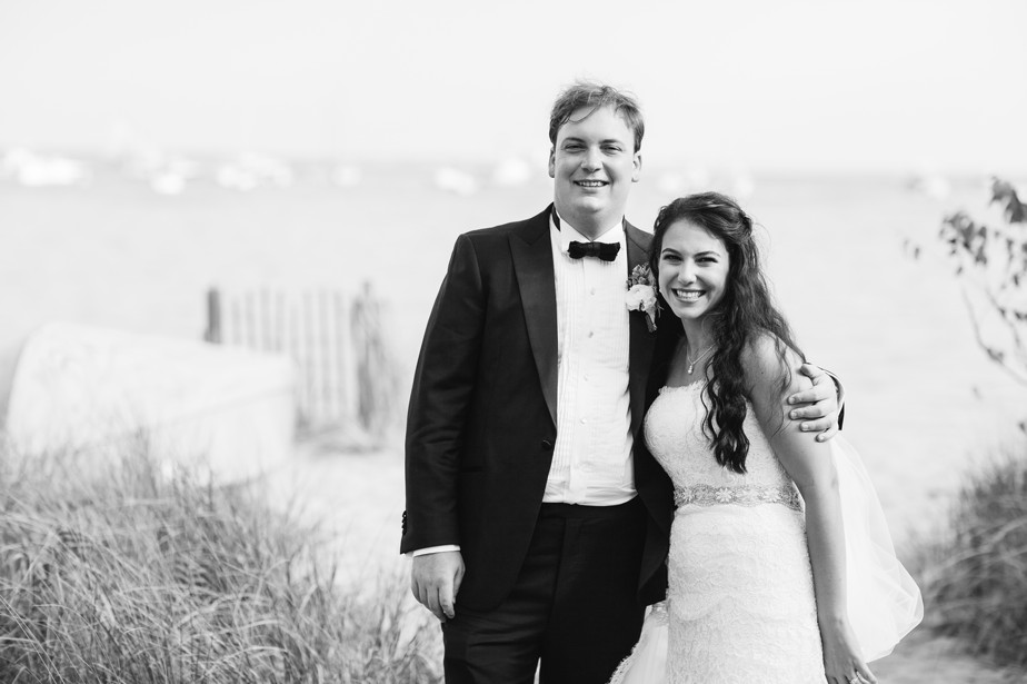 happy couple at pilgrim monument wedding provincetown Ptown
