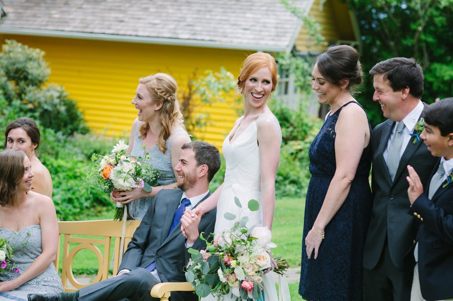 candid wedding party at mt hood organic farm oregon