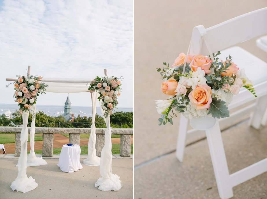 peach and coral details at pilgrim monument wedding provincetown Ptown