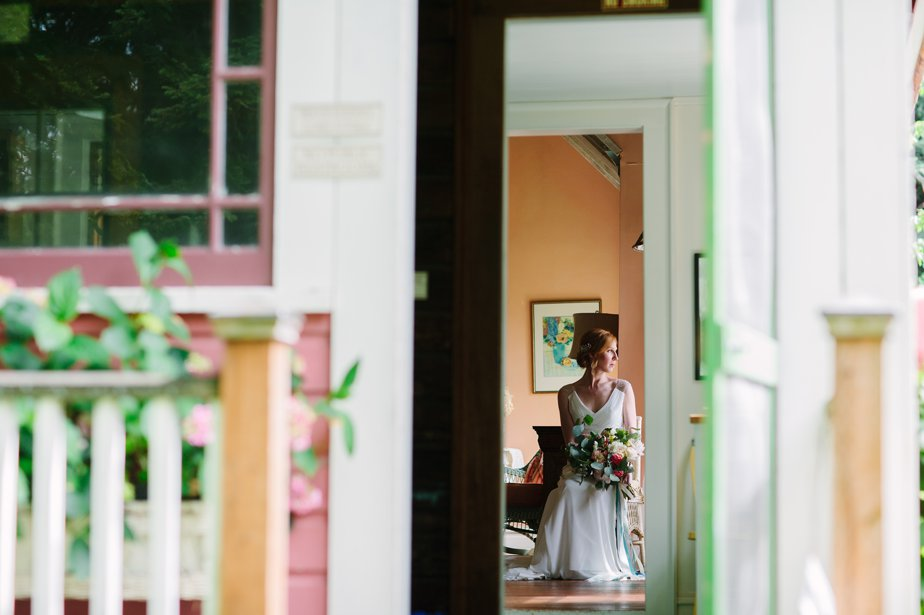 bride waits for ceremony at mt hood organic farm