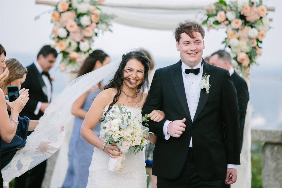 newly married at pilgrim monument wedding provincetown Ptown