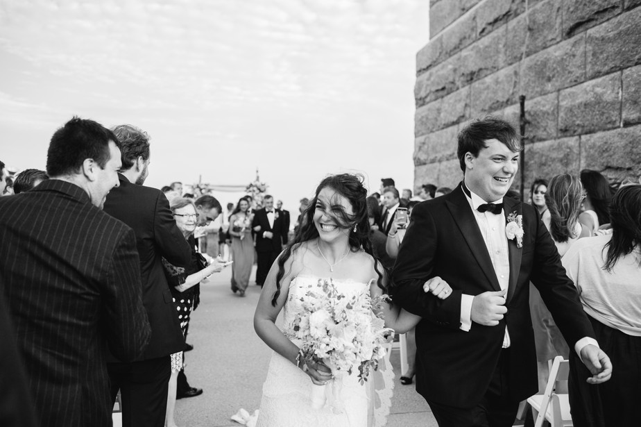 just married walking down the aisle pilgrim monument wedding provincetown Ptown