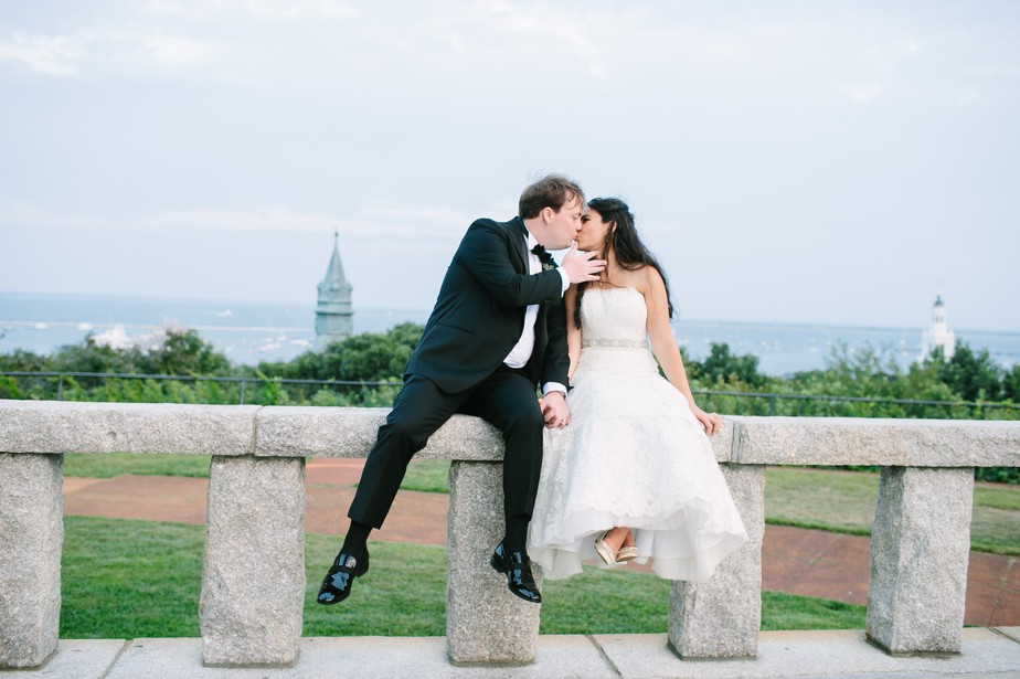 kisses at pilgrim monument wedding provincetown Ptown